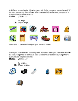 Tener and objects Spanish verb speaking and writing activity