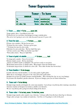 Ultimate Tener Packet: Over 85 Expressions with a variety of Exercises