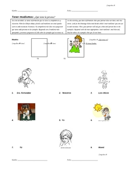 Tener expressions Info Gap/Speaking activity