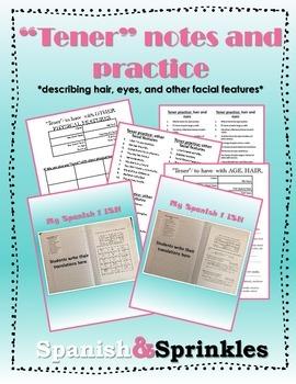 Tener notes and practice: describing hair, eyes, other facial features