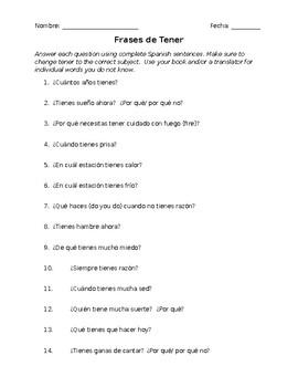 Tener phrases worksheet
