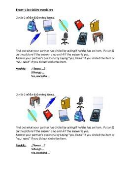 Tener y Utiles escolares (School in Spanish) Partner Speaking activity 2