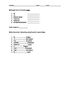Tener/AR verb Quiz