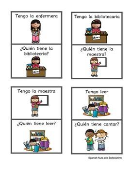 Tengo ¿Quién tiene? En la escuela School vocabulary Spanish, verbs, community
