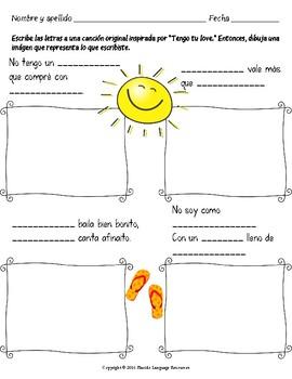 """""""Tengo Tu Love"""" Spanish Song Activities Packet"""