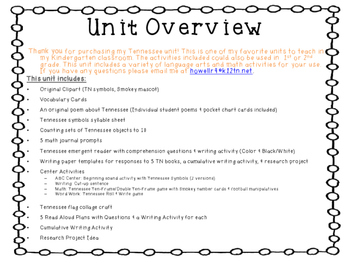 Tennessee Reading & Math Unit