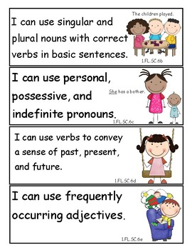 Tennessee 1st Grade English Language Arts I Can Statements - New Standards 2017!