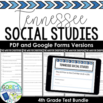 Tennessee 4th Grade Social Studies Tests BUNDLE