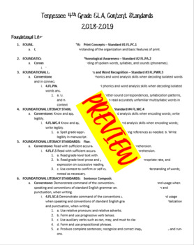 Tennessee Academic Content Standards - ELA - 2018-2019 - 4th Grade
