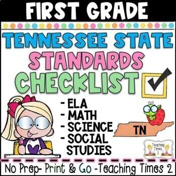 Tennessee Standards  2017- Grade 1 ELA and Math Teacher Binder Packet