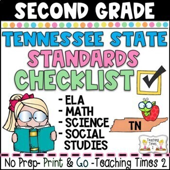 Tennessee Standards 2017-2018 Grade 2 ELA and  MATH Teacher Checklist Packet