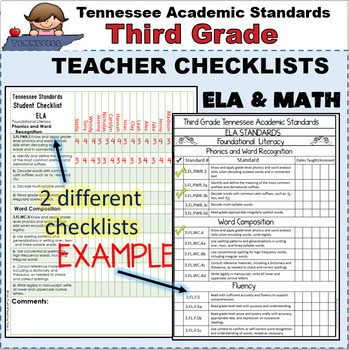 Tennessee Academic Standards Third Grade Binder Packet
