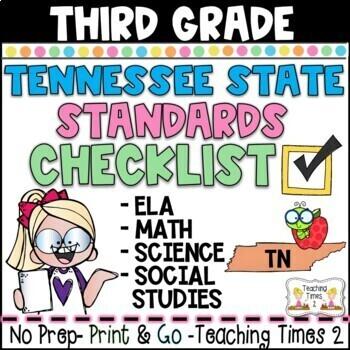 Tennessee Academic Standards Gr.3 ELA-MATH-SCIENCE-S.S. Teacher Checklist Packet