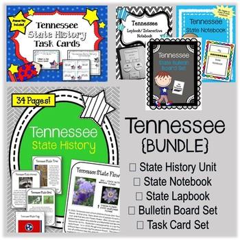 Tennessee Bundle. History Unit. Bulletin Board. Notebook. Lapbook. Task Cards.