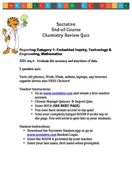 Tennessee Chemistry End-of-Course Test Socrative Review Quiz: 3221 Inq. 4