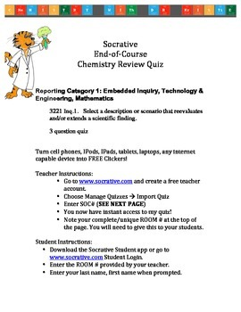 Tennessee Chemistry End-of-Course Test Socrative Review Quiz: 3221 Inq.1