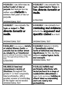 Tennessee ELA Secondary State Standards Board Magnets