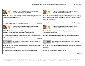 Revised Tennessee PRE-K (4 Year Old) I Can Statement Cards