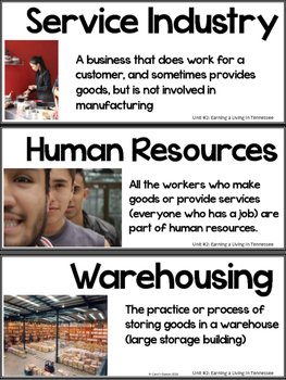Tennessee Economy Vocabulary Cards Unit #2: Earning a Living in Tennessee