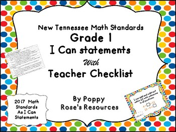 Tennessee Grade 1 Math I Can Statements - New Standards 2017