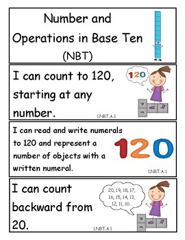 Tennessee Grade 1 Math I Can Statements - New Standards for 2017!