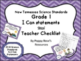 Tennessee Grade 1 Science I Can Statements New for 2018-2019