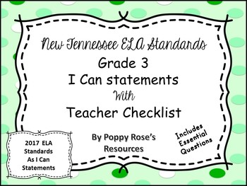 Tennessee Grade 3 ELA I Can Statements - Candyland