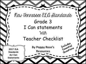 Tennessee Grade 3 ELA I Can Statements -  Chevron