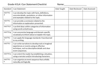 Tennessee Grade 4 ELA I Can Statements - 2017