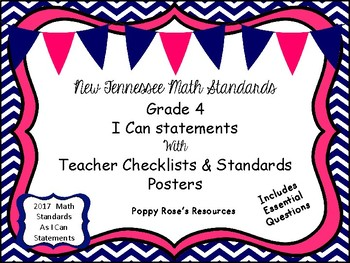 "Tennessee Grade  4 Math Bundle -Standards & ""I Can"" Posters"