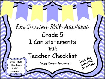 Tennessee Grade 5 Math I Can Statements - New Standards 2017