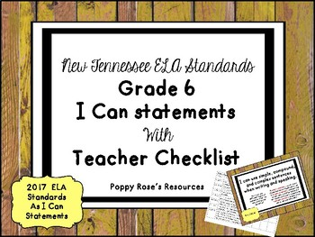 Tennessee Grade 6 ELA I Can Statements Posters