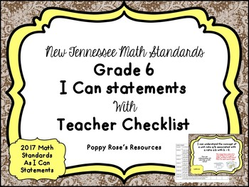 Tennessee Grade 6 Math I Can Statements - New Standards 2017