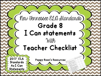 Tennessee Grade 8 New 2017  ELA I Can Statements Posters
