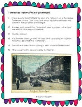 Project Based Learning:  Tennessee History Project