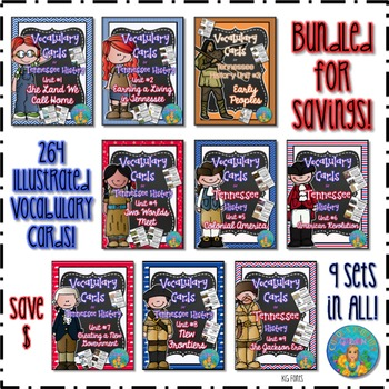 Tennessee History Vocabulary Cards Bundled for Savings