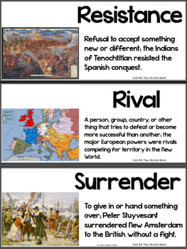 Tennessee History Vocabulary Cards Unit #4: Two Worlds Meet