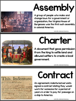 Tennessee History Vocabulary Cards Unit #5: Colonial America