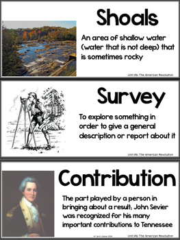 Tennessee History Vocabulary Cards Unit #6: American Revolution