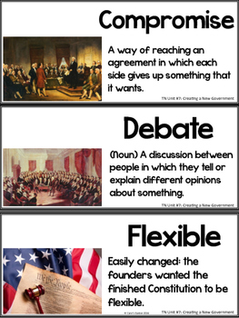 Tennessee History Vocabulary Cards Unit #7 Creating a New Government
