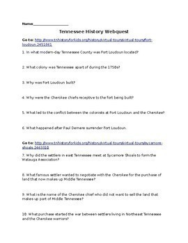 Tennessee History Webquest