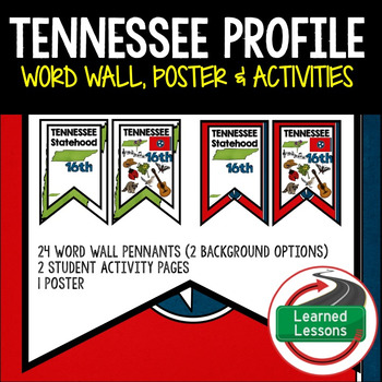Tennessee History Word Wall, State Profile, Activity Pages