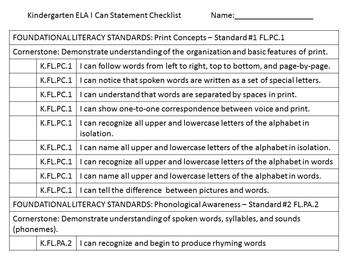 Tennessee Kindergarten ELA I Can Statements - Aztec Theme