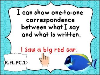 Tennessee Kindergarten ELA I Can Statements - Ocean Theme