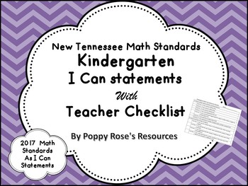 Tennessee Kindergarten Math I Can Statements - New Standards 2017