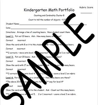 Tennessee Kindergarten Portfolio Math Collection K.CC.B.5