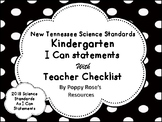 Tennessee Kindergarten Science I Can Statements New for 2018-2019