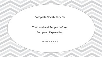 Tennessee Land and People before European Exploration complete vocabulary