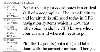 Tennessee Latitude and Longitude Coordinates Puzzle - 22 Points to Plot - FREE!