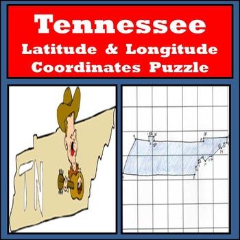 Tennessee Latitude and Longitude Coordinates Puzzle - 22 P